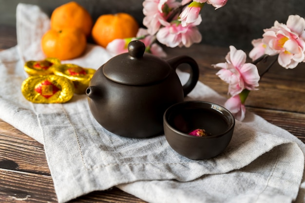 Floral chinese new year decoration with tea