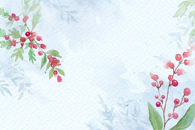 美しい赤いウィンターベリーと青の花のクリスマスボーダーの背景