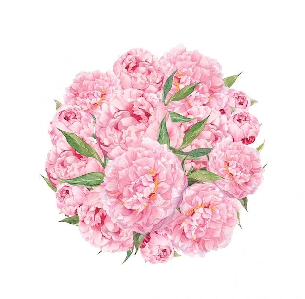 ピンクの牡丹の花と花のサークル。ヴィンテージ水彩