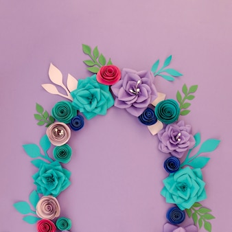 Floral circular frame on purple background
