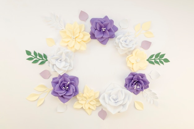Floral circular frame on white background