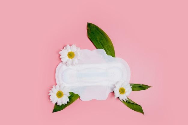 플로랄 깨끗한 생리대, 위생 개념, 여성 제품, 생리대.