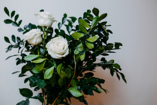 Floral composition in interior. bunch with white roses and green leaves.