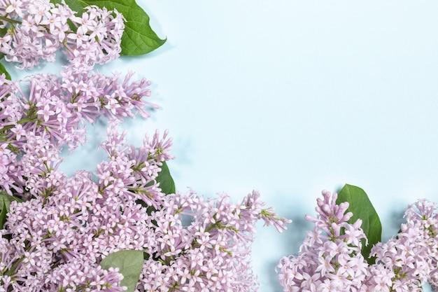 Цветочная композиция из сиреневых цветов с копией пространства.