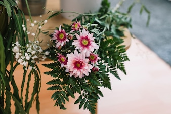 Floral composition on table