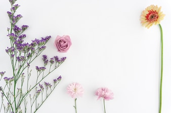 Floral composition with fantastic decorative flowers