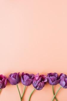 生きている珊瑚に紫色のチューリップの花と花の組成