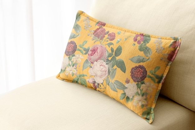 Floral cushion home decor, on a sofa