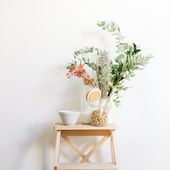 Floral decoration on stool