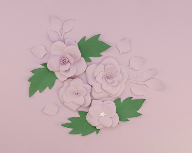 Floral decoration on purple background