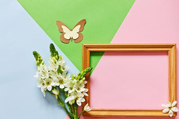 Floral flat lay minimalism geometric patterns greeting card.