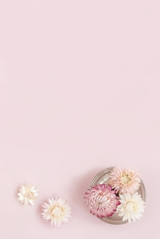 Floral flat lay with copy space
