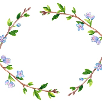 Floral frame background with spring branches apple or cherry tree. hand drawn watercolor illustration. isolated.