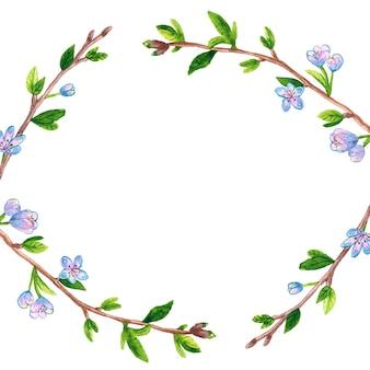 春の枝リンゴまたは桜の木と花フレームの背景。手描きの水彩イラスト。孤立。