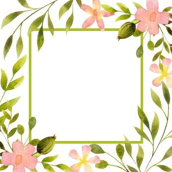 Цветочная рамка границы карты копией пространства акварельные цветы листья квадратные элементы дизайна