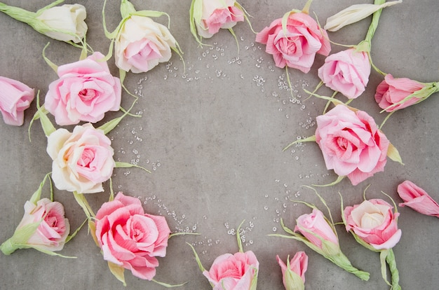 Floral frame on cement background