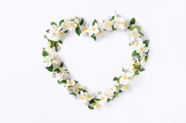 Floral frame. floral heart on a white background.