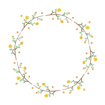 Floral frame with yellow flowers