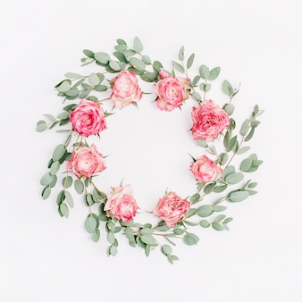 Floral frame wreath of red rose flowers and eucalyptus branches on white