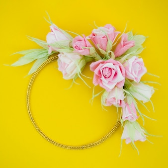 Floral frame on yellow background
