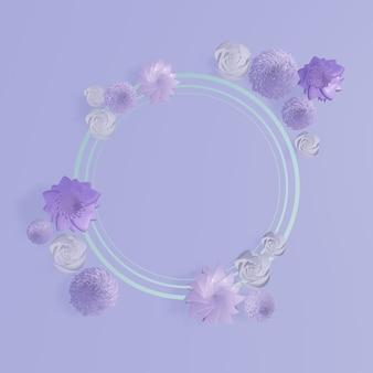 花のフレーム。ピンクの花の花輪