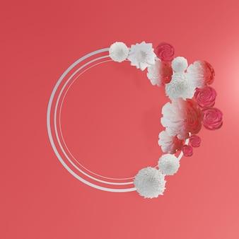 花のフレーム。赤に花の花輪
