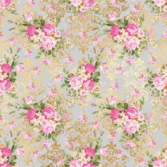Floral gray pattern background texture with gold pattern