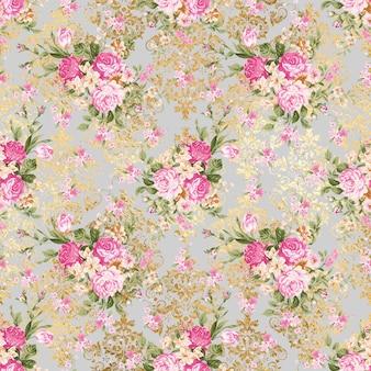ゴールドパターンと花の灰色のパターンの背景テクスチャ