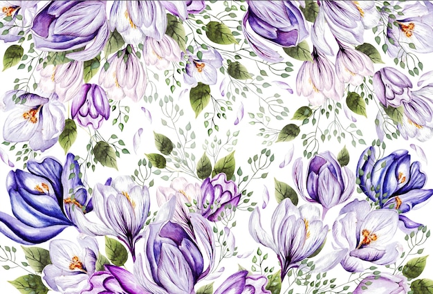 Floral greeting card with blooming crocus and garden leaves
