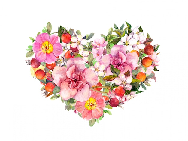 Floral heart with pink flowers, summer grass and leaves. watercolor for valentine day