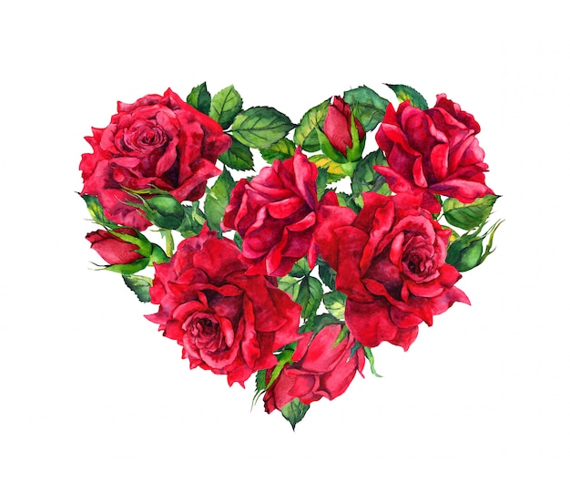 Floral heart with red rose flowers. watercolor for valentine day