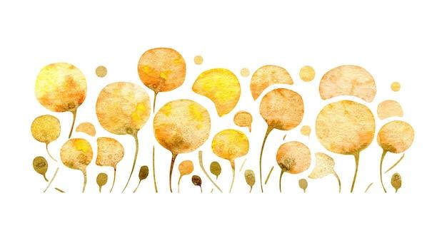 抽象的な黄色い花タンポポと花のイラスト白い背景の上の水彩画アート