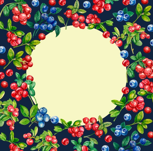 Floral ornament with lingonberries, blueberries, green branches and leaves.