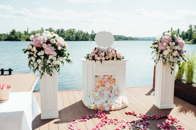 Floral ornaments on a pier