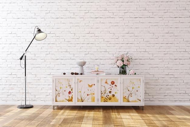レンガの壁の背景の壁に花柄のサイドボードを白のシンプルなinterrior3dレンダリングでモックアップ