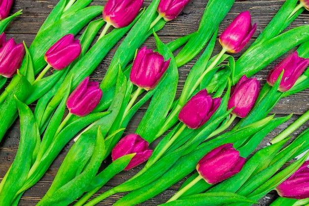 Цветочный узор из темно-розовых тюльпанов на черном фоне. flatlay, вид сверху.