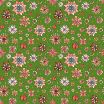 Floral seamless abstract ethnic boho pattern. watercolor hand drawn colorful flowers on green background. wallpaper, wrapping, textile, fabric