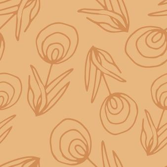 라인 아트 스타일의 꽃 원활한 패턴입니다. 꽃, 잎, 잔가지의 추상 식물 인쇄. 섬유 디자인 텍스처입니다. 봄 꽃 배경입니다. 벡터 일러스트 레이 션.