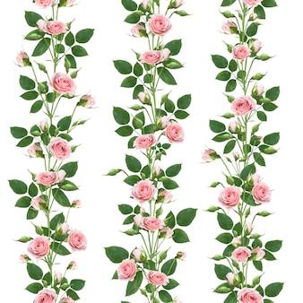 白い壁に分離された葉とつぼみとピンクのバラの花を登る枝の花のシームレスなパターン