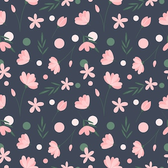 灰色の背景に花のシームレスなパターンピンクの花緑の葉と円の繰り返し印刷