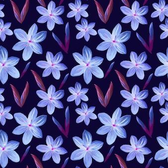 紫色の花と花のシームレスなパターン
