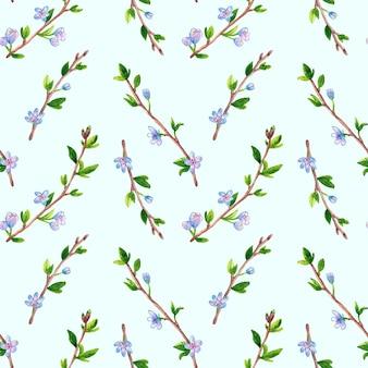 花と春の枝と花のシームレスなパターン。リンゴまたは桜の木。青に手描きの水彩イラスト。