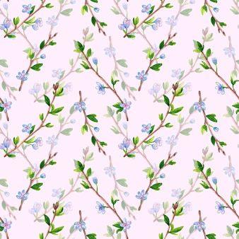 花と春の枝と花のシームレスなパターン。リンゴまたは桜の木。ピンクの手描き水彩イラスト。