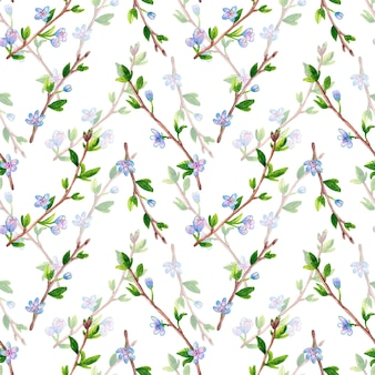 花と春の枝と花のシームレスなパターン。リンゴまたは桜の木。手描きの水彩イラスト。