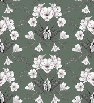 Floral seamless pattern with white flowers and beetles on a muted green background. hand drawing in vintage style. design for fabric, wallpaper, paper, scrapbooking.
