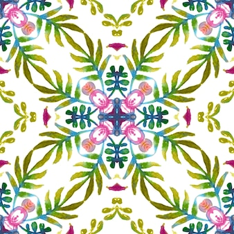 Floral surface design with colorful spring and summer flowers and green leaves.