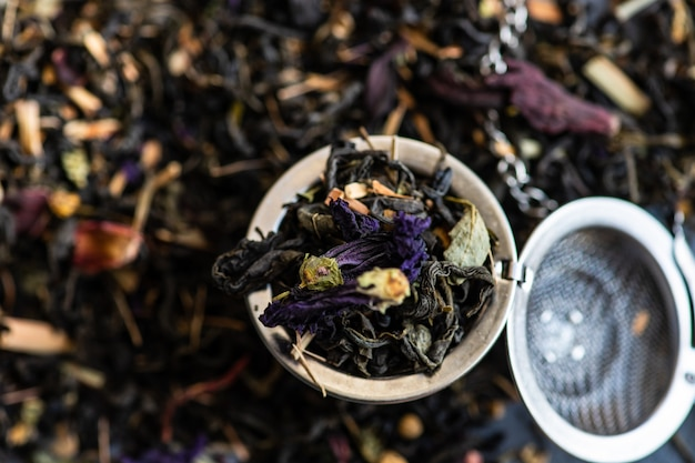 Floral tea in a bowl