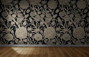 Floral wallpaper in an empty room with wooden floor
