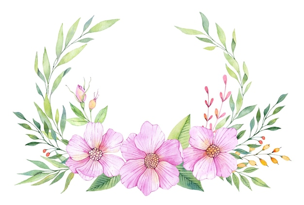 Floral watercolor wreath with pink flowers and green leaves
