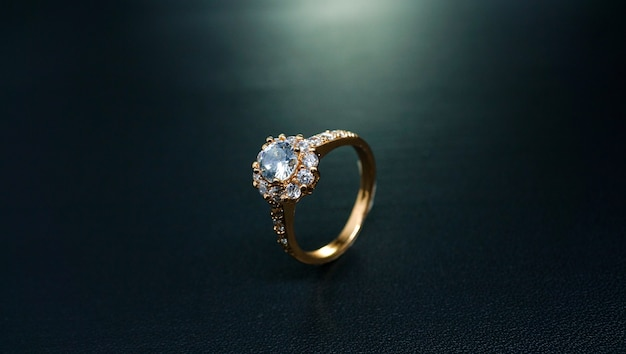 Floral wedding ring with front view